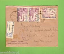 #D205.  1949  REGISTERED LETTER ENVELOPE FROM KUALA LUMPUT TO BOTANY  NSW