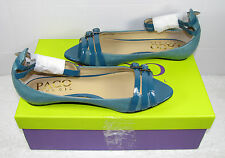 PACO GIL SOLD THRU VICTORIAS SECRET STRAPPY PEEP TOE FLAT LEATHER TEAL BLUE  5.5