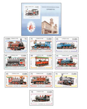 KUB9607 Old steam locomotives 10 pcs + block