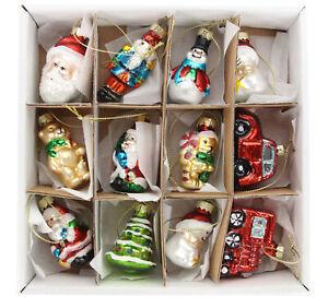 Gisela Graham Vintage Style Glass Mini Hanging Christmas Tree Decorations Boxed
