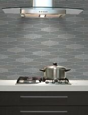 Kitchen Bathroom Washable Vinyl Tile Wallpaper Charcoal Grey Glitter Washable