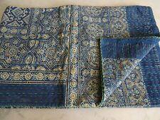 Indian Bohemain Handmade Ajrakh Kantha Quilt Bedding King Size Kantha Throw