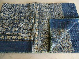 Indian Bohemain Handmade Ajrakh Kantha Quilt Bedding King Size Kantha Throw