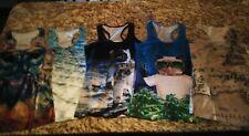 Racerback Tank Top Lot of 5 owl cat ocean space map Women's M