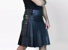 Active Men Adult  Handmade 100% Black Genuine cowhide Leather Utility kilt