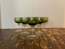 Vintage Italian Glass Empoli Green and Clear 3 Ounce Cordial Stem Set of 6 D