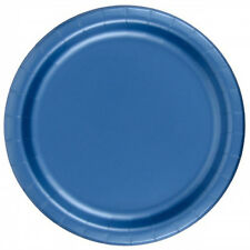"24 Plates 6 7/8"" Paper Dessert Plates Wax Coated - Royal Blue"