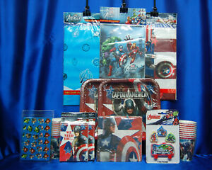 Captain America Avengers Party SET # 13 Plates Napkins Tablecover Invites FOR 16