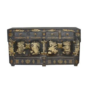 Oriental Chinoiserie Distressed Flower Black TV Console Sideboard Cabinet cs5952
