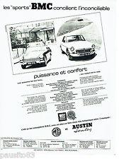 """PUBLICITE ADVERTISING 086  1967  MG & Austin  les """"Sports""""  BMC"""