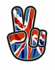 PEACE Hand Hippy Style & Union Jack British UK Flag Vinyl Car Sticker Decal