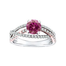 0.78 Carat Pink VS Round Diamond Solitaire Ring 14K WG Valentine Day Spl.Sale