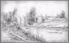 LÉON BERVILLE 3 DESSINS ORIGINAUX 1886-96 NOGENT-SUR-MARNE Pont Val-de-Marne