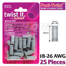 POSI-TWIST 18-26 AWG NON IN-LINE WIRE CONNECTORS, REUSABLE, NO CRIMPING - 25 PK