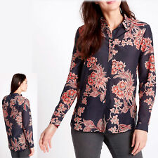 M&S Cotton & Silk Blend FLORAL PRINT SHIRT ~ Asst Sizes ~ NAVY Mix (rrp £29.50)