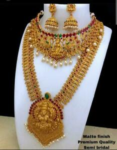 Indian Fashion Temple Jewelry Necklace Set Gold Plated Bollywood Wedding 4Pcs
