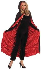 Ladies Mens Black Red Vampire Cape Halloween Fancy Dress Costume Outfit Cloak