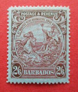 SG238a Barbados George V 1925 2/6d Carmine Blue MM