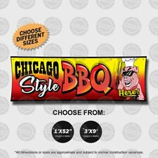 Chicago Style Bbq Banner Open Sign Display Restaurant Tailgate Festival Cookout