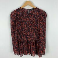 Forcast Womens Top 6 Multicoloured Floral Long Sleeve Round Neck Button Closure