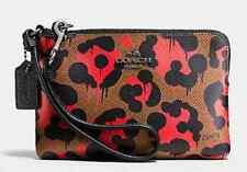 NEW Coach 64194 QBEH8 Orange Wild Beast Ocelot Leopard Corner Zip Wristlet $75