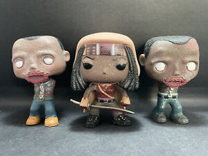 Funko Pop MICHONNE AND PETS [MUDDY/GLOW IN THE DARK] WALKING DEAD 3 PACK No Box