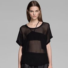 HELMUT Helmut Lang Sheer Ghost Silk Top Blouse in Black Size Small S