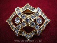 """Clip Foulard """"Ondulations Croisées"""" Pavé cristal Blanc - Bijoux Vintage Sphinx"""