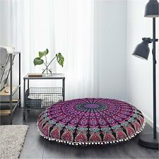 """Feather Peacock Mandala Cotton 32"""" Large Round Floor Cushion Cover Indian HIppie"""