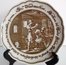 Vtg Hutschenreuther German Plate Brown White The Glass Blower Pieroth Germany