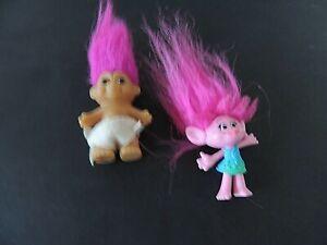 "Vtg Troll Dolls x 2 Pink Hair Trolls 4"" tall with hair RUSS TROLL wearing diaper"