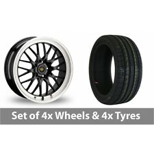 "4 x 18"" Cades Tyrus Black Alloy Wheel Rims and Tyres -  225/40/18"