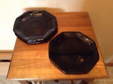 "6 Vintage Black Amethyst Octagon 7 1/2"" Luncheon Salad Plates France"