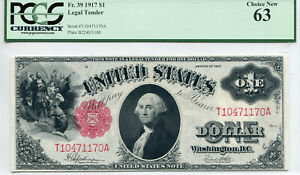 1917 $1 Legal Tender Note Choice New 63 PCGS Currency Certified
