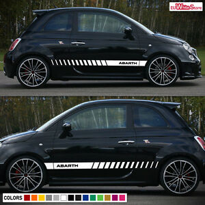 Decal Graphic Vinyl Side Stripe kit for Fiat 500 Abarth Sport Rocker Racing