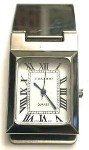 Colibri Engravable Silver Tone White Dial Roman Numeral Money Clip Pocket Watch