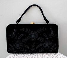 Vtg Soure` New York Black Velvet Beaded Floral Handbag Purse Gorgeous Stunning