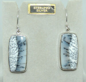 Sterling Silver and Dendrite Opal Wire Earrings 26x13x4mm (14869)