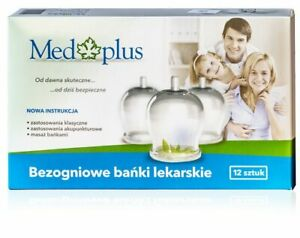 MEDPLUS 12 FIRELESS CUPPING GLASSES WITH PUMP BANKI BEZOGNIOWE 12 SZTUK + POMPKA