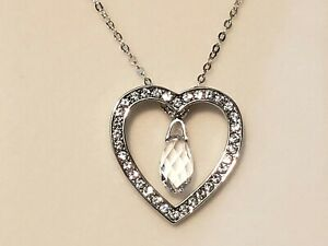 Swarovski crystal heart & teardrop pendant in platinum over sterling 18 in