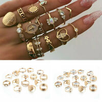 15pcs Boho Stack Plain Above Knuckle Ring Midi Finger Tip Rings Set Gold Jewelry