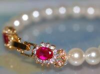 Classical Design Fresh Water Pearl With Created Ruby Flower Lock Bracelet