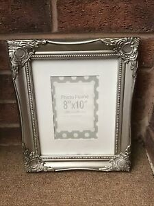 BEAUTIFUL  ORNATE  PICTURE/PHOTO FRAME WITH DISTRESSED SILVER FINISH