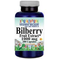 Bilberry Fruit Extract 1000mg 200 Caps (Vaccinium Myrtillus) Vitamins Because