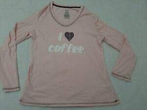 Secret Treasures Womens Size M Sleep Shirt Pink I Love Coffee medium