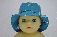 "Play n Wear Doll Clothes To Fit 17"" Baby Born DENIM/STAR DRILL SUN HAT"