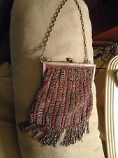 Vintage Beaded Victorian Bag Purse – red w Markasite Beads –see pictures