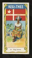 SAMOA ADVERTISING TEA CARD c1930 KEGS THEE...SAMOAN GIRL + FLAG