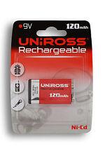 Uniross 9V NI-CD 120mAh GB 1000x + BATTERIA RICARICABILE