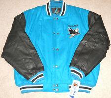 Vtg NEW w/Tags-San Jose Sharks Logo 7-Athletic letterman jacket-leather sleeves
